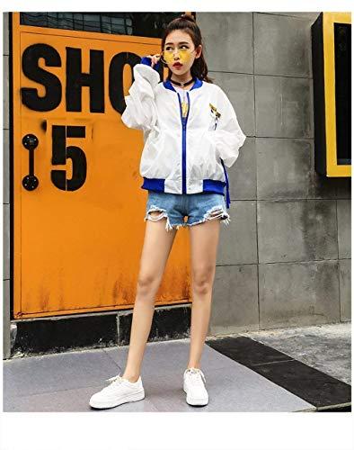 Sciolto Collo Outerwear Moda Blau Digitale Donna Casual Primaverile Rotondo Cappotto Stlie Bomber Manica Giacca Aviatore Autunno Di Grazioso Stampato Eleganti Lunga Da XPw1xOYqa