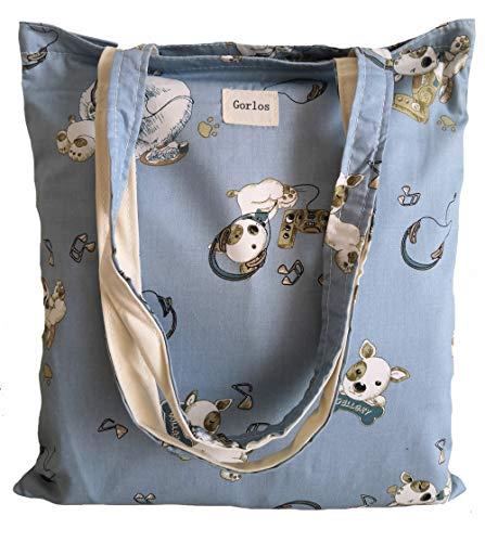 Women's Canvas Tote Shoulder Bag Stylish Shopping Casual Bag Foldaway Travel Bag (39-No closure-dog blue)