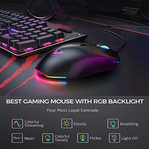 PICTEK Gaming Mouse Wired 24,000 DPI RGB Gaming Mice with 17-Programmable-Buttons, 4 Interchangeable Side Plate Programmable 3/9 Buttons, Palm/Claw Grip Ergonomic for Laptop/PC Gamer 512r6xmL GL