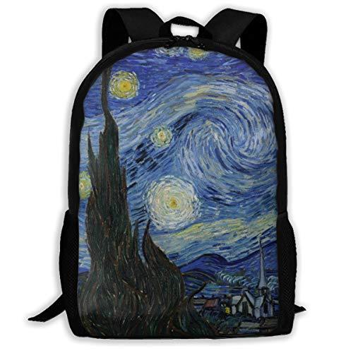 Sunmoonet Van Goghs Starry Night Backpack College School Travel Bags Waterproof Shoulder Backpacks for Men Women