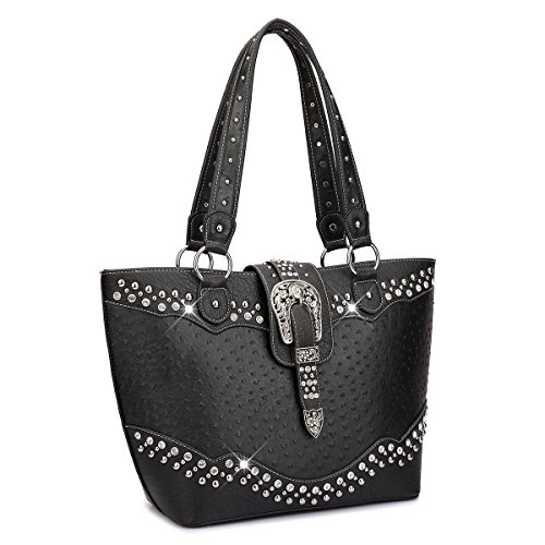 Dasein Designer Western Style Rhinestone Buckle Camo Women's Tote Handbag Perfect Shoulder Bag (Ostrich, Black/Black) (Black Buckle Studs)