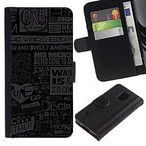 SAMSUNG Galaxy S5 V / i9600 / SM-G900 , la tarjeta de Crédito Slots PU Funda de cuero Monedero caso cubierta de piel ( Jesus God Quote Newspapepr Poster Art)