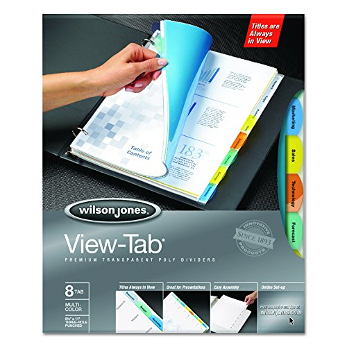 Wilson Jones 55567 View-Tab Transparent Index Dividers, 8-Tab, Rectangle, Letter, Assorted (Box of 5 Sets)