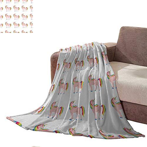 Custom homelife Warm Microfiber All Season Blanket Unicorn Rainbow Hair Seamless Throw Blanket L70 xW60