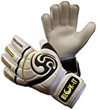 Blok-IT Goalkeeper Gloves Goalie Gloves - Make the Toughest Saves-Secure and Comfortable Fit - Extra Padding, Reduced Chance of Injury (White & Black, Size 8=Adult-S)
