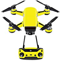 Skin for DJI Spark Mini Drone Combo - Solid Yellow| MightySkins Protective, Durable, and Unique Vinyl Decal wrap cover | Easy To Apply, Remove, and Change Styles | Made in the USA