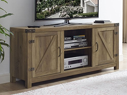 New 58 Inch Barn Door Television Stand in Rustic Oak Finish by Home Accent Furnishings
