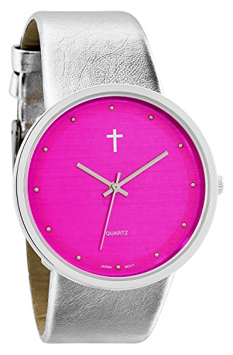 Pink Silver Tone Watch - Belief Women's | Silver-Tone and Hot Pink Watch with Cross | BF9658HP