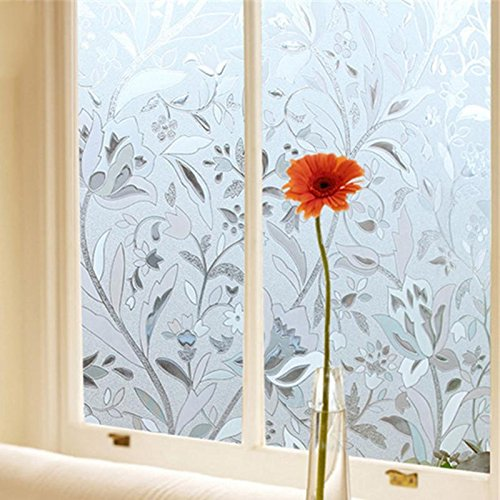 45 100cm Uv Staticproof Cling Frosted Stained Flower Window Film Self Adhesion Glass Sticker Bedroom - Glass Stickers