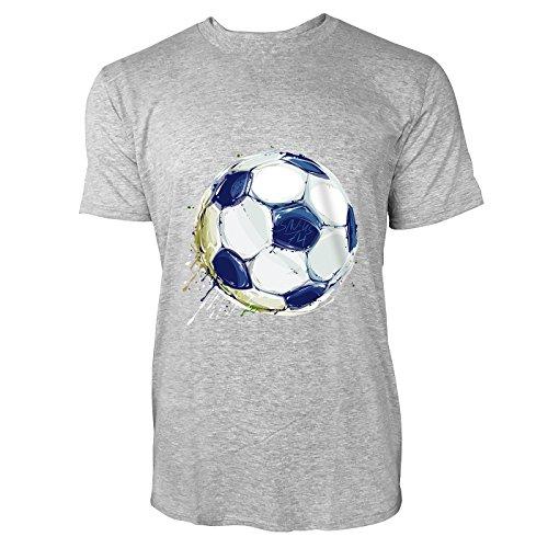 SINUS ART® Fußball in Aquarell-Optik Herren T-Shirts in hellgrau Fun Shirt mit tollen Aufdruck