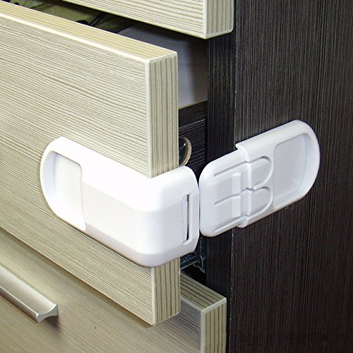 Drawer Lock for Safety Children - Lock Baby Door Safety - Buckle Prevent Open Drawer Cabinets - Set 10PCS