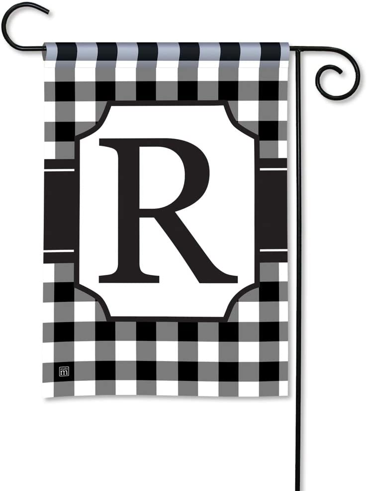 BreezeArt Studio M Black & White Check Monogram R Decorative Garden Flag – Premium Quality, 12.5 x 18 Inches