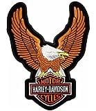 Patch thermocollant de grande taille avec logo aigle Harley Davidson, 24x 34cm, couleur marron, pour blouson, gilet, veste
