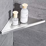 YUTU SD8 304 Stainless Steel Triangle Bathroom Shelf Thicken Brushed Nickel Shower Corner Wall Mounted (2 Layers)
