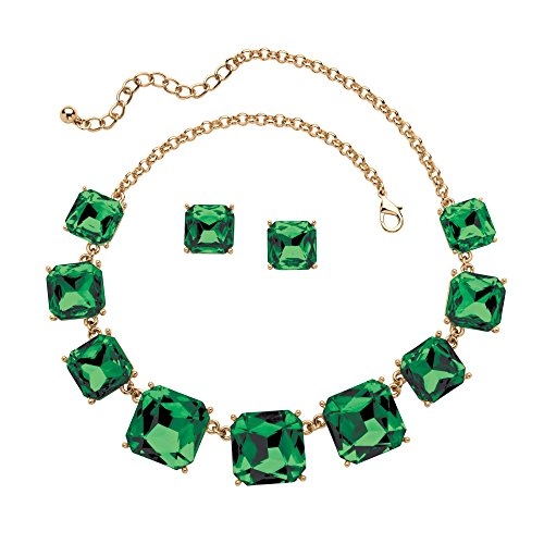 Palm Beach Jewelry Simulated Birthstone Gold Tone 2-Piece Necklace Earrings Set (Costume Jewelry Emeralds)