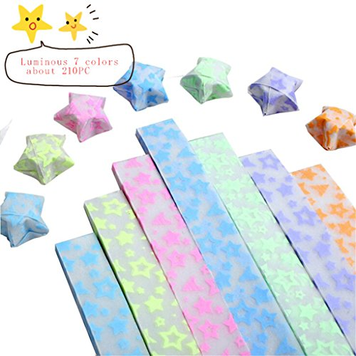 SUPPION Origami Luminous Stars Papers Folding Paper Strips Glows in the dark 1x24cm (Glow In The Dark Eye Contacts)