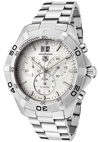 - Tag Heuer CAF101F-BA0821 Men's Aquaracer Chronograph Stainless Steel Silver-Tone Dial