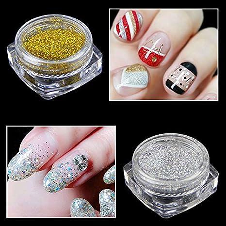 Buy WY611 : 2 Bottles/set Gold Silver Nail Glitter Powder Women ...