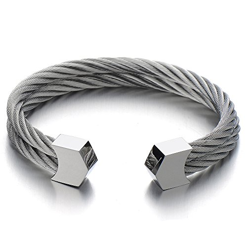 Womens Stainless Twisted Adjustable Bracelet