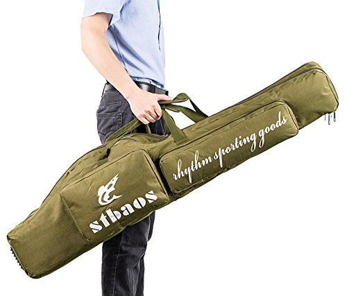 Selighting Fishing Rod Cases Portable Folding Fishing Gear Organizer Canvas Travel Carrier Pole Tools Storage Bags (Dark Green, One Size)