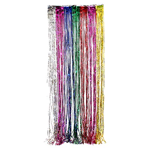 3'x8' ft RAINBOW Party Curtain Metallic Fringe Foil Shimmer Birthday Decoration Only By -