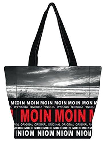 Robin Ruth Canvas kleine Schultertasche Moin Moin Foto in schwarz/rot (Maße: LxHxT 25x25x11cm)