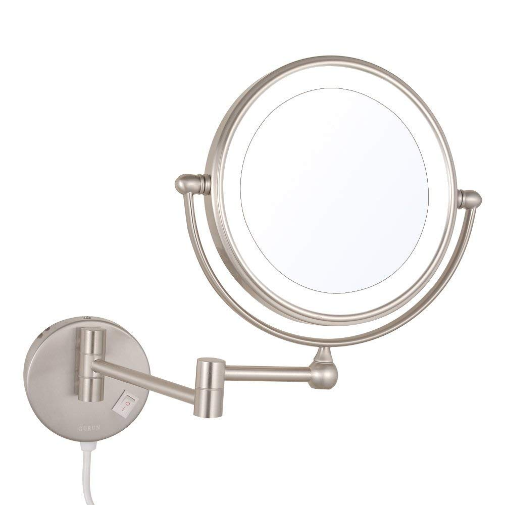 Sanliv Wall Mounted LED Lighted Makeup Mirror Double Sided With 7X Magnification,360 Swivel No-Rust, Nickel Brushed 8in,7x Magnification