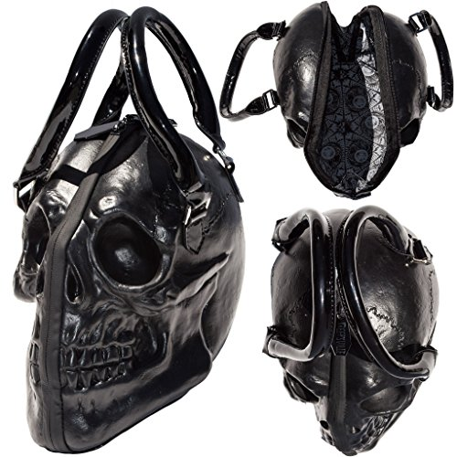 Black Skull Purse Goth Chic Style Kreepsville Latex Bowler Bag Halloween Handbag (Goth Halloween Makeup)
