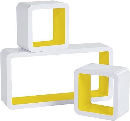 WOLTU Estantería de Pared Estantería Cubo Conjunto de 3 Estante Retro Colgantes CD Libreria Decorativo Baldas Flotante Pared Amarillo/Blanco RG9229gb