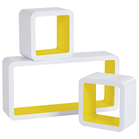 WOLTU Floating Shelves Yellow Cube Floating Wall Shelves Set of 3 CD ...
