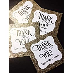 Gold Glitter Favor Tags Personalized Set of 25 - Wedding Bridal Baby Shower Birthday Graduation Quinceanera