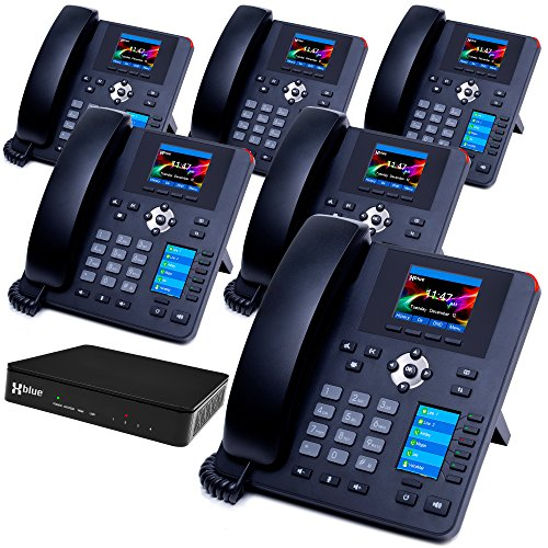 XBLUE QB System Bundle with 6 IP7g IP Phones Including Auto Attendant, Voicemail, Cell & Remote Phone Extensions & Call Recording