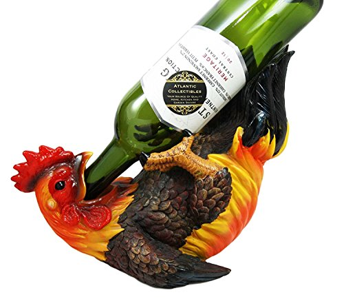 "Atlantic Collectibles Barnyard Farm Rooster Chicken Wine Bottle Holder Caddy Figurine 11"" Long"