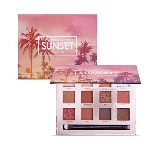 Glitters Eyeshadow Palette, Woya 12 Colors Hawaiian Sunset Dusk Long Lasting Shimmer Eyeshadow Powder Palette Mineral Pressed Glitter