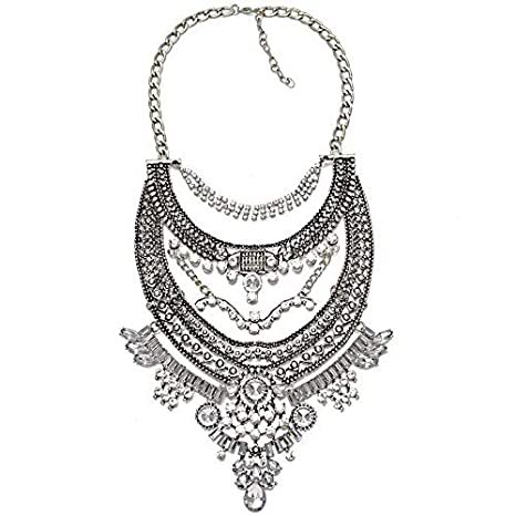 06179263a2 Image Unavailable. Image not available for. Color: Vintage Silver Necklaces  & Pendants Vintage Crystal Maxi Choker Statement Collier Femme Boho Big  Fashion ...