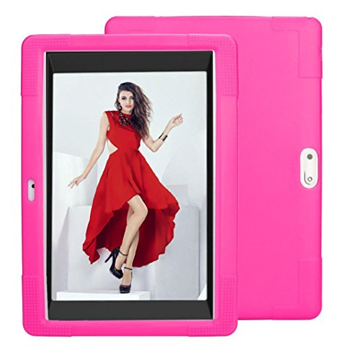 """Price comparison product image DZT1968 Universal Anti-dirts durable Silicone case cover for 10"""" 10.1"""" Tablet (Hot Pink)"""
