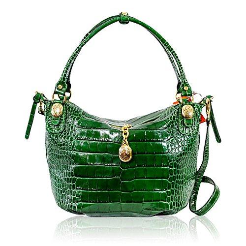 Green Diseñador De Cuero Marino Croc Bolso Orlandi Crossbody Italiano Emerald Repujado qawxxRIg