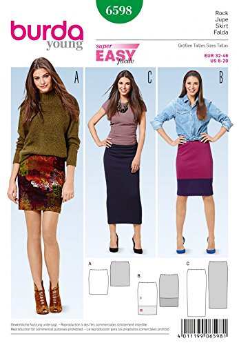 Burda Ladies Easy Sewing Pattern 6598 Basic Narrow Jersey Knit
