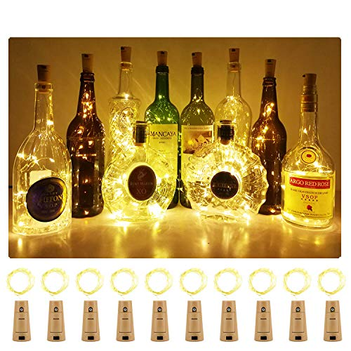 Aluan Wine Bottle Lights with Cork 15LED 10 Pack Bottle Lights Battery Powered Wine Cork Lights String Lights for Party Wedding Christmas Festival Decoration, Warm White