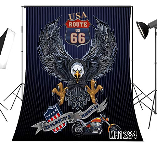 LB American Route 66 Eagle Photography Backdrop 5x7ft Vintage Motorcycle USA Flag Stripe Photo Background Banner Tapestry Customized Vinyl Photo Shoot Studio Props MH1284]()