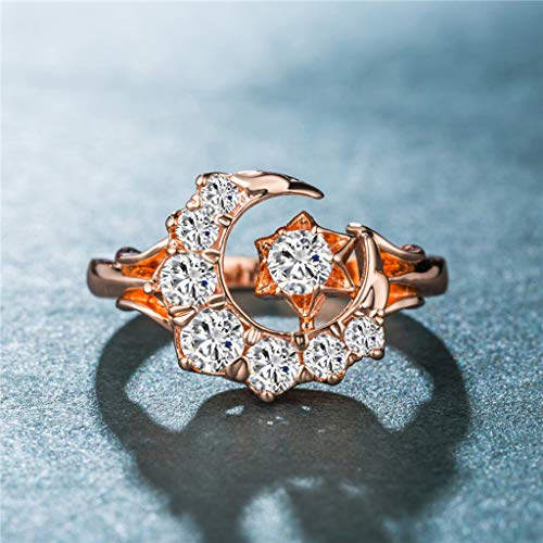 Haluoo Moon Star Statement Ring, 925 Sterling Silver 8 Stone CZ Cubic Zirconia Engagement Ring Rose Gold Plated Moon Stars Diamonds Wedding Band Ladies Ring Jewelry Size 6-10 (10, Rose Gold)
