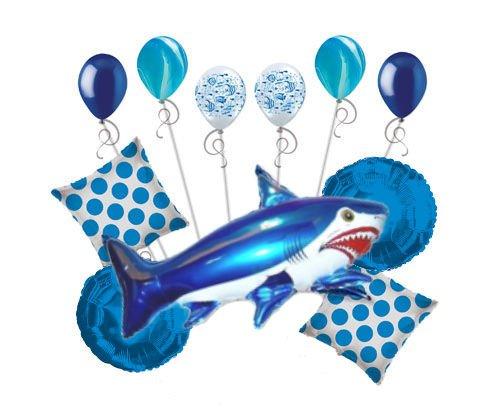 11 pc Blue Wild Tiger Shark Balloon Bouquet Party Decoration Fish Ocean (Shark Balloons)