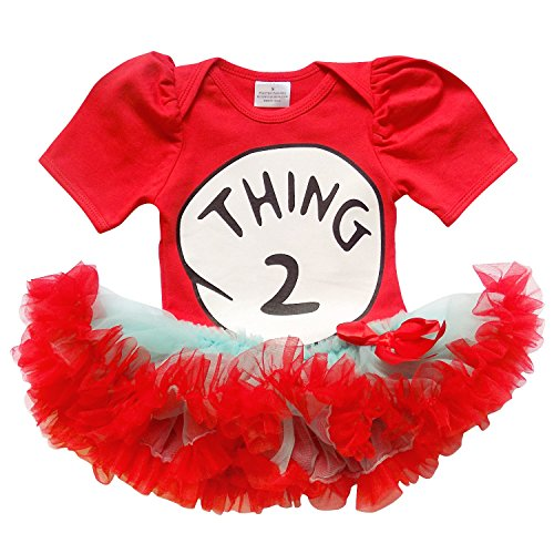 So Sydney Baby Toddler Girl Thing 1, 2 Tutu Chiffon Skirt Onesie Romper Costume (L (12-18 Months), Thing (Thing 1 And 2 Costumes)
