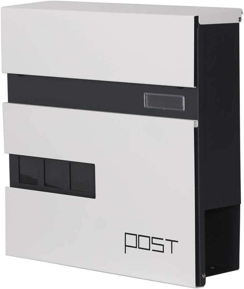 LZQ Modern Neu Design-Briefkasten Geb/ürstetes Edelstahl Postkasten mit Zeitungsfach Modell Ⅲ, A Anthrazit Postkasten Wandbriefkasten Postkasten mit Zeitungsrolle