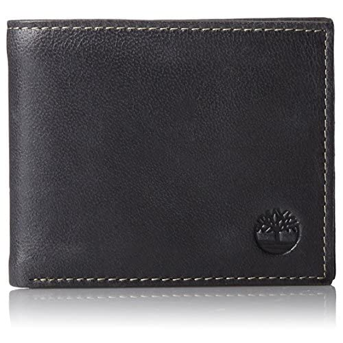 Timberland Men's Leather Wallet with Attached Flip Pocket, (Black, Cloudy)