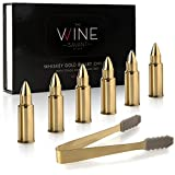 Gold Bullet Whiskey Chillers Stones - Whiskey Rocks By The Wine Savant Set of 6- Stainless Steel Bullet Shaped Ice Cubes, Gift Box Come, Tongs and Storage Bag, Whiskey or Scotch Rocks