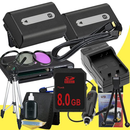 TWO NPFH50 Lithium Ion Replacement Batteries w/Charger + 8GB SDHC Memory Card + Mini HDMI + 3 Piece Filter Kit + Tripod + USB SD Memory Card Reader /Wallet + Deluxe Starter Kit for Sony DCRDVD508, DCRDVD408, DCRDVD308, DCRDVD108, DCRDVD505, DCRDVD405, DCR by DavisMAX