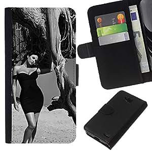 LECELL--Cuero de la tarjeta la carpeta del tirón Smartphone Slots Protección Holder For LG OPTIMUS L90 -- B & W Elegante Morena --