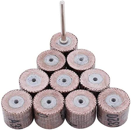 Outils de pon/çage 10PC abrasifs pour pon/çage de la roue abrasive pour le polissage de papier rotatif Dremel pour le travail du bois grain 80-600 120