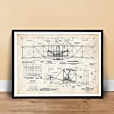 Wright Flyer Poster 1903 Flying Machine Patent Art Handmade Giclée Gallery Print Parchment (24